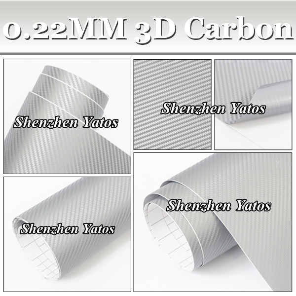 30M/lot 3D Carbon Fiber Sticker Silver Car Wrapping Protection Foile Air Free Bubble(China (Mainland))
