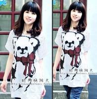 Maternity clothing summer plus size maternity t-shirt top bear bow short-sleeve t-shirt maternity dress