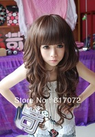 Wig long roll scroll fluffy female oblique bangs pear medium-long stubbiness
