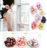 Free shipping!2013 New arrival fashion girl women pompom ponytail flower hair band hair holder elastic ropes