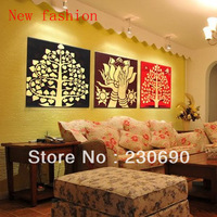 Gold foil oil painting modern decoration picture frame gold bodhi tree golden buddha lotus