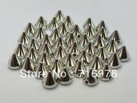 Free Shipping silver tone 200pcs Metallic Rock Punk Spike Rivet Acrylic Taper Stud Beads 10X8m(W02150 )