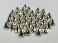Free Shipping silver tone 200pcs Metallic Rock Punk Spike Rivet Acrylic Taper Stud Beads 10X8m(W02150 )