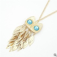 Leaves tassel owl necklace Wholesale !Free shipping!