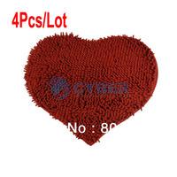 4Pcs/Lot RED 50X60cm Chenille Bedroom Floor Love Heart Carpet Kitchen Bath Rug Mat Doormat Room Pad 16750