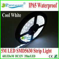 Free shipping 25meters/lot 60LEDs/M,5M/Roll, wholesale 5630SMD,DC12V LED IP65 Waterproof Flexible Strip Light,Warm Cool White