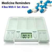 Digital pill box timer Digital Medicine Pills Reminder Box, 4-Pill Compartments and 8 Daily Alarms Free Shipping