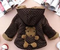 Winter coats outwear for children girls boys clothing 3d bear cartoon aniaml cotton fleece jacket baby infants children wear