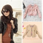 NEW STYLISH CREW NECK ZIPPER POCKET DECORATION  LONG-SLEEVED SMALL LEATHER JACKET WF-4335(China (Mainland))