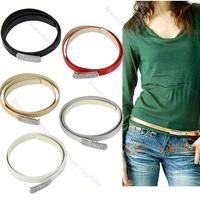 Women's Fashion Crystal Rhinestone Head Thin Skinny Candy Color Waistband Belt