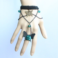 European and American gothic retro butterfly green glass Lace Bracelet with one chain ring jewelry