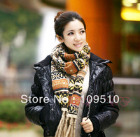 Hot sale, Xmas fashion new style, women's winter's snowflakes deer's striped knitted warm wool cashmere tassels pashmina scarf