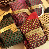 Small houndstooth vintage piles of socks color block national trend 100% cotton socks sock socks