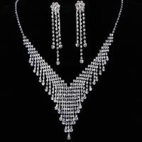 Free shipping 2013 new Good quality luxury tassel Jewelry bride wedding formal dress tassel rhinestone necklace drop earring