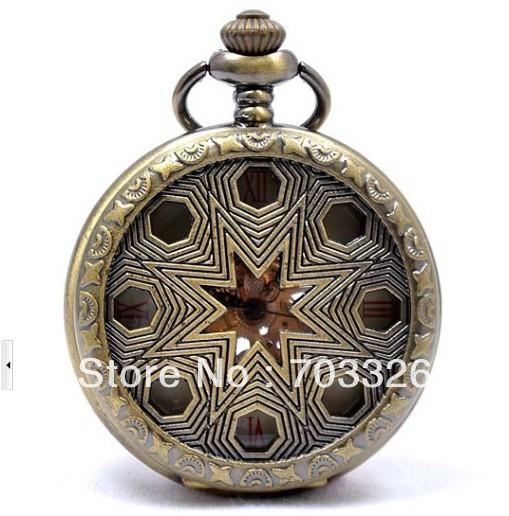 3pcs/lot antique bronze Roman Number hollow star Case mans Mechanical Pocket Watch fob watch JX157(China (Mainland))