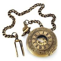 3pcs/lot antique bronze Roman Number hollow  Case mans Mechanical Pocket Watch fob watch YG008