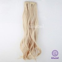 180g 45 CM colour Blonde long curly full head clip in hair extensions Synthetic Hair piece natural curly Hairpiece