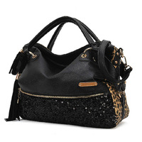2012 autumn large capacity tassel leopard print paillette rivet bag messenger bag handbag women's big bags