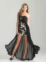 2013 Black Applique Hi-Lo Fashion Formal Evening Gown