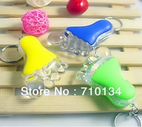 Free shipping promotion gift PS Foot plastic led Keychains keyring torch