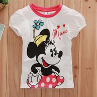 Free shipping NWT 5pcs/lot girl's summer short sleeve t shirt with kawaii minnie printing