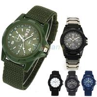 New Solider Military Army Men's Sport Style Canvas Belt Luminous Quartz Wrist Watch 4 Colors 00T8