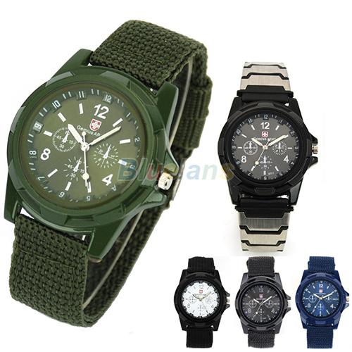 Nouveau solider militaires de l'armée de sport pour hommes style ceinture de toile lumineusetemps couleurs 00t8 4 montre bracelet à quartz