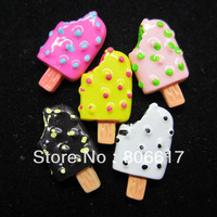 Free Shipping 20 Pcs Mixed Popsicle Resin Flatback Cabochon Scrapbook Embellishment DIY Phone Decoration 20x11mm(W02396 X 1)