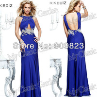 2014 Elegant Strapless Halter Ruffles Keyhole Front Beaded Waist Popular Court Train Prom Gowns Dresses New 92209