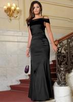 Simple Long Satin Card Shoulder Custom-Made Size Evening Dresses