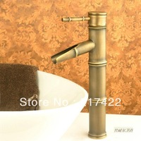 Counter Basin Bamboo Design Antique Brushed Brass Faucet Hot and Cold Mixer
