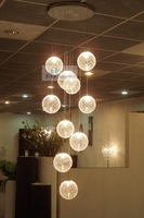 FREE SHIPPING 10HEAD Pendant Lights modern brief glass aluminium wire circle pendant lamp stair lamp