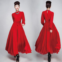 Free Shipping European Famous Brand Vintage design slim Long Sleeve High Quality chiffon full dress(BK+Red+S/M/L/XL)130712#1