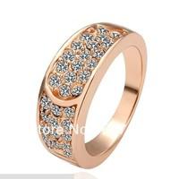 Freeshiping  18K Gold Plated Ring Health Nickel Free K Golden Plating Platinum Rhinestone Austrian Crystal SWA Element Rose-gold