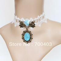 Free shipping Fashion European and American Vintage Lace Tassel Necklace Necklace L-80