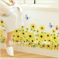 Free shipping Children's room background decoration  wall sticker parlour bedroom background sunflower