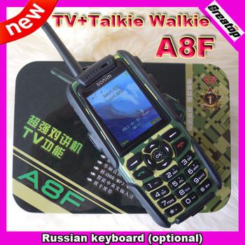 Outdoor A8F walkie talkie +TV Mobile phone waterproof dustproof shockproof car phone Dual Sim Russian Keyboard 2batteries