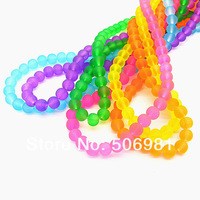 8mm 630pcs Mix Color Fluorescent Round Glass Beads For Necklace&Bracelet Wholesale Iridescent Smooth Beads Free Shipping HB864