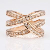 18KGP Ring Gold Plated Ring Health Nickel Free K Golden Plating Platinum Rhinestone Austrian Crystal SWA Element Rose-gold