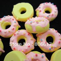 Free Shipping 10 Doughnut w Pink Cream Resin Flatback Cabochon Scrapbook Embellishment DIY Phone Decoration 23mm(W02401 X 1)