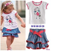 Free Shipping 5 Sets Lot Girl's Shirt Skirt Set 2pc Fashion Girls Jean Skirt Kids Clothes Set Children Suit 2013 Baby Wear
