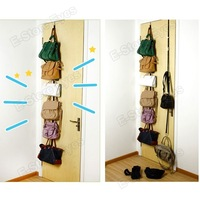 hk free shipping 10pc/tvc wholesale Adjustable Handbag Rack Door Holder Storage Organiser up to 16 Handbags