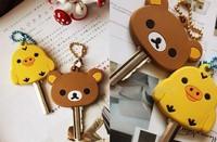 10PCS San-X Rilakkuma Bear Sentimental Circus; Super Kawaii Rubber KEY Cover Chain Holder; Rubber Key Pendant Hook; Key Cap Case