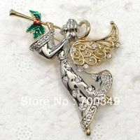 Fashion Fairy Brooch Wholesale 12Piece/lot Clear Crystal Rhinestone Angell Christmas gift BroochesC2117