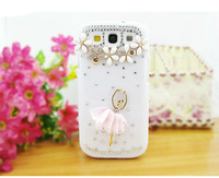 HKP free shipping New Luxury ballet girl Diamond Cover For Samsung I9300 Crystal ballet girl Bling Case For Galaxy SIII S 3