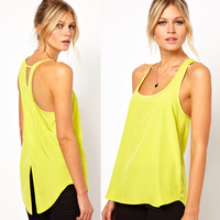 Back cross all-match dovetail lemon yellow chiffon female vest