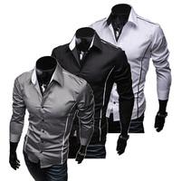 Free Shipping 2012 New Mens Shirts Casual Slim Fit Stylish Hot Dress Shirts Color:White,Black,Winered Size:L-XL-XXL