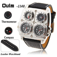 Oulm Adventure Men's Quartz Military Wrist Watch with Dual Movt Compass & Thermometer Function Round Leather Band - Black