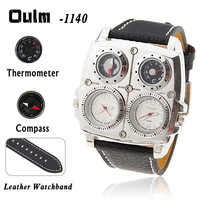 Oulm Adventure Men's Quartz Military Wrist Watch with Dual Movt Compass & Thermometer Function Round Leather Band - White