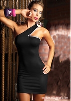 914 free shipping 2013 womens new fashion black one shoulder strap sexy lingerie lady clubwear dress party dress + G-string